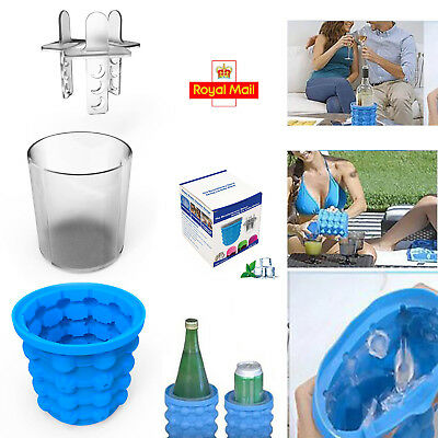 Silicone Ice Cube Maker Genie Saving Ice Cubes Storage Space Mould Bucket Update