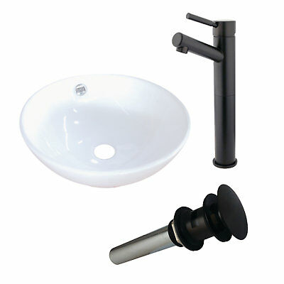 Kingston Brass Ceramic Circular Vessel Bathroom Sink with Faucet and Overflow