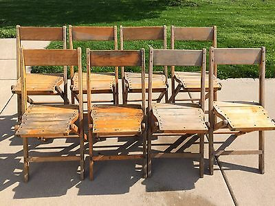 Set Of 8 Vintage Palmer Snyder Wooden Folding Chairs Wood