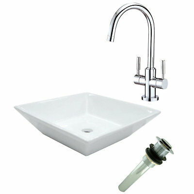 Kingston Brass Concord Ceramic Square Vessel Bathroom Sink with Faucet