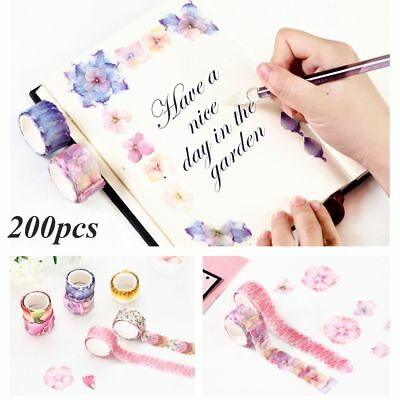 200PCS Stylish Scrapbook Sticker Flower Petals Tape Washi Tape Sticky Paper