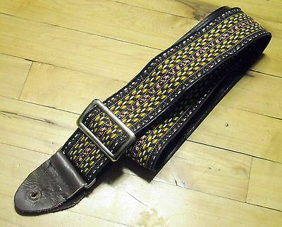 1960s Vintage Guitar Strap Hippy Great Condition Woven Boho Adjust Leather Metal