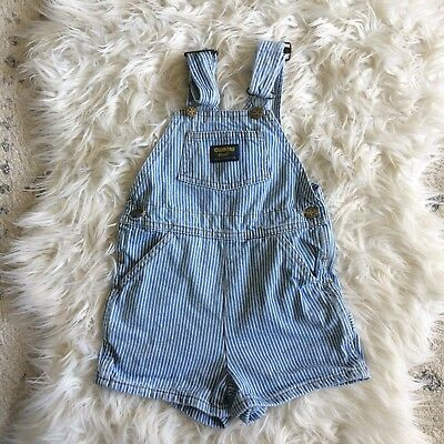 Vintage Oshkosh Conductor Blue Stripped Overall Shorts Size 3t