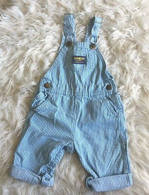 Vintage Oshkosh Stripped Light Blue Conductor Overalls Size 24 Months