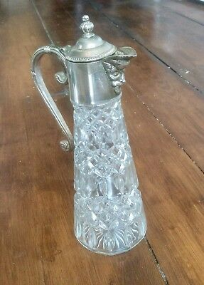 Vintage Art Deco Glass Claret Jug,Wine Decanter,Silver Plated Bacchus Head Spout