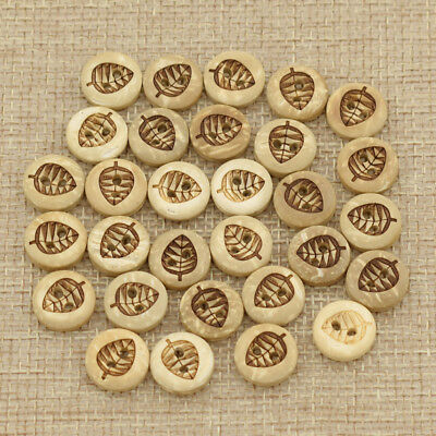30 Pcs Coconut Buttons Leaves Pattern Hole Clothing Handworking Sewing DIY Craft