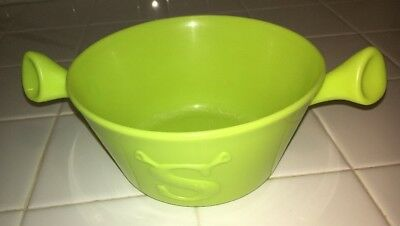 SHREK Kellogg's Plastic Cereal Bowl - Bright Lime Green With Ears - Barely Used!