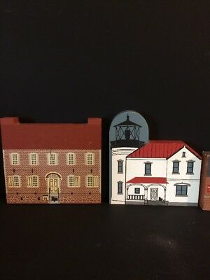 Lot Of 14 Wooden Village Town Houses Buildings The Cats Meow Faline Etc.