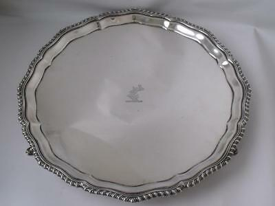 Crested Solid Sterling Silver Salver/ Tray 1925/ Dia 25.5 cm/ 504 g