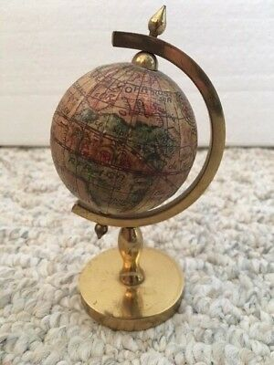 Vintage Small Desk Old World Globe, brass stand, made in Italy ~4.75""