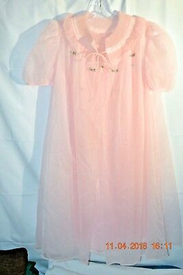 50's sz S Evette Lingerie Chiffon Pink Peignoir Pleated Robe gown hollywood