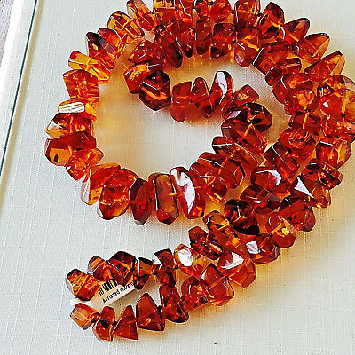 Genuine Russian Baltic Amber Necklace Beads Vintage Butterscotch Egg Yolk 老琥珀