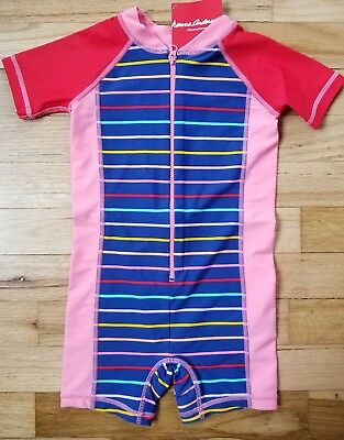 NWT Hanna Andersson Swimmy Rash Guard STRIPE ONE PIECE SWIMSUIT  75 12-18 M