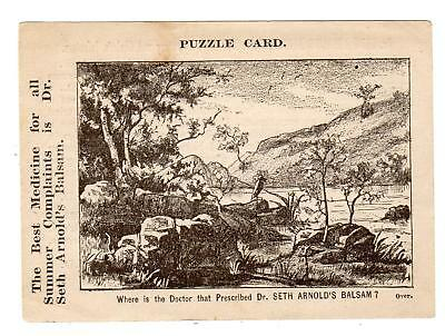 1860's DR SETH ARNOLD'S BALSAM*QUACKERY*CURES*VICTORIAN TRADE PUZZLE CARD