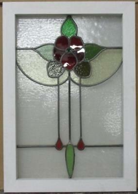 "MID SIZED OLDENGLISH LEADED STAINED GLASS WINDOW Stunning Floral 18.75"" x 26.75"""