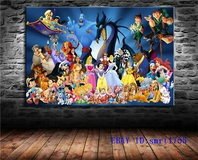 Disney Characters,HD Print on Canvas Painting Home Decoration Wall Art 24x36