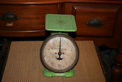 Antique Landers Frary Clark Scale-20 Pound-Green Color-Primitive Country Decor