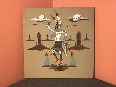 """Authentic Vintage 12x12"""" Native American Indian Navajo Sand Painting Art Kachina"""