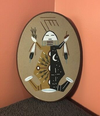 """Authentic Vintage 9.75"""" x 7.25"""" Native American Indian Navajo Sand Painting Art"""