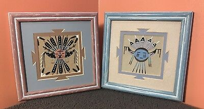 """Authentic Lot of Vintage 7.25x7.25"""" Native American Indian Navajo Sand Paintings"""