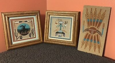Authentic Lot of 3 Vintage 1989 Native American Indian Navajo Sand Paintings Art