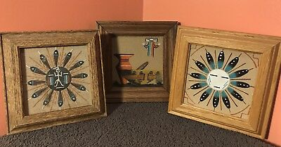 Authentic Lot of 3 Vintage Native American Indian Navajo Sand Paintings Art NICE