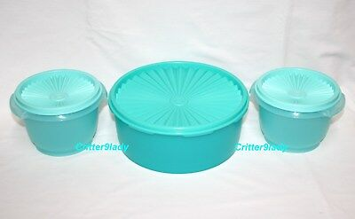 NEW Tupperware Retro Servalier Bowls with Stacking Canister Teal