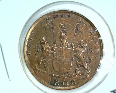 1808 British India X Cash Coin KM#319 British East India Company  Extremely Fine