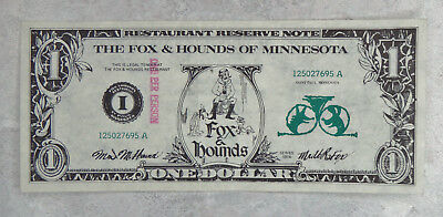 The Fox and Hounds of Minnesota Restaurant Reserve Note - 1974 - St. Paul, MN