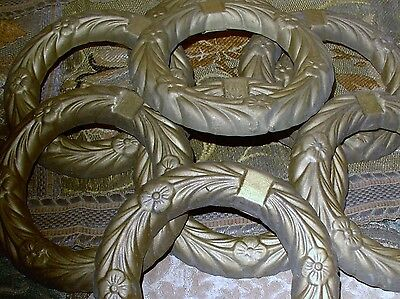 Vintage Brass Floral Embossed Two ( 2 ) Position Curtain / Drapery Tiebacks