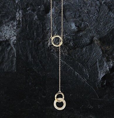 Lariat Diamond Circles Necklace Y bar drop 14kt rose yellow or white gold