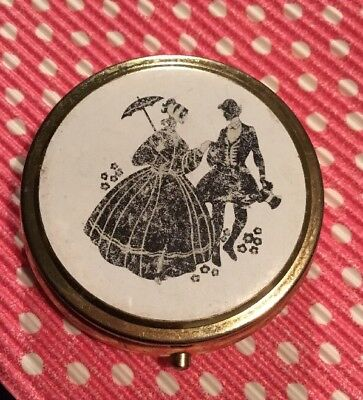 Retro 80s Courting Couple Ivory Black Silver Metal Beaded Pill Box