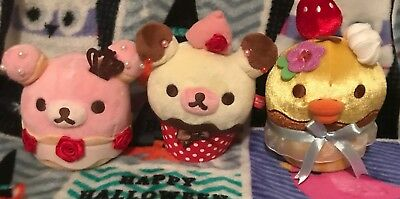 Rilakkuma Plush San-x Strawberry Sweet Cupcakes Lot USA SELLER