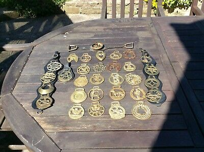 Wonderful Collection Of 31 Antique / Vintage Horse Brass / Brasses