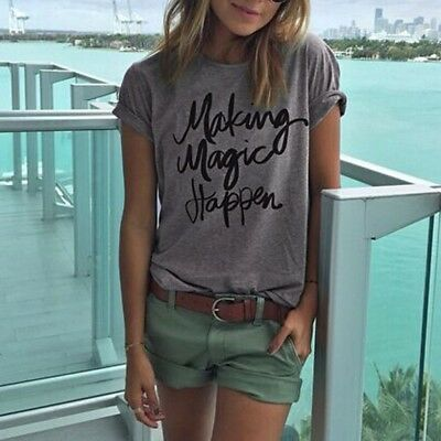 Women's Letter Print Tops Vest Pullover T Shirt Casual Loose Short Sleeve Blouse