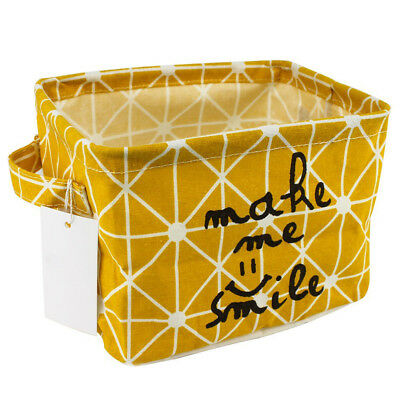 Small Linen Fabric Foldable Organizer Storage Basket with Handle, Collapsible an