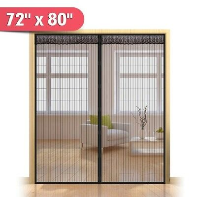 New 72w x 80h Hands Free Magnetic Screen Door for French Doors Full Frame Bug