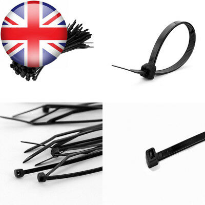 All Trade Direct 1000 X Black Cable Ties 100Mm 2.5Mm Zip Tie Wraps Bases...
