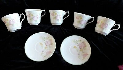 Springfield English Fine Bone China - Sweet Peas - 5 cups and 2 saucers