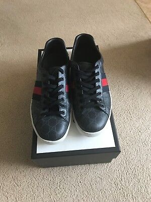 01ac242ba2a BLACK GUCCI ACE GG Supreme Mens Low Top Trainers - £220.00