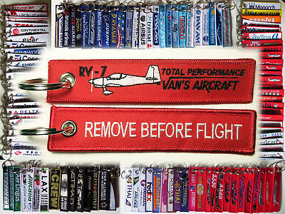Keyring Van's RV-7 red Remove Before Flight keychain RV7 pilot total performance