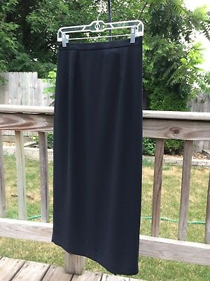 Black Career Skirt Casual Corner Long/Mid Length Pencil/Straight Lined Size 8 LN