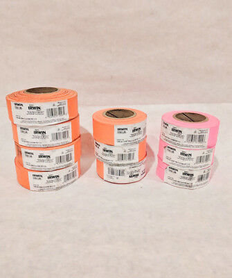 10x IRWIN Strait-Line Flagging Tape Roll Orange & Pink NEW!
