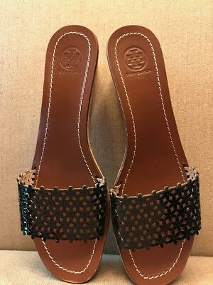 e95bbe0b8e7 TORY BURCH BLACK Daisy Perforated Floral Wedge Slides Cork Shoe Size ...