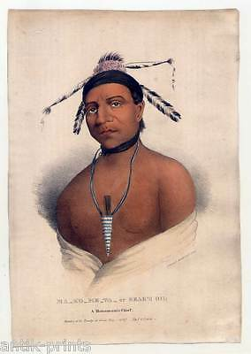 Ma-ko-me-ta - Bear's Oil-Monomonie Chief-Indianer-Indian-Lithographie Lewis 1835