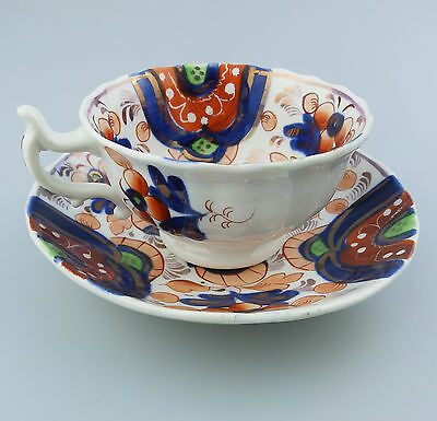 Gaudy Welsh Antique English Pottery  a good Victorian Cup & Saucer 19thC