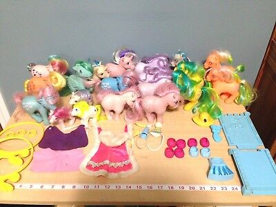 Lot of 20 vtg 1982-85 My Little Pony Toy Horses w/Accessories shoes rare 1980s