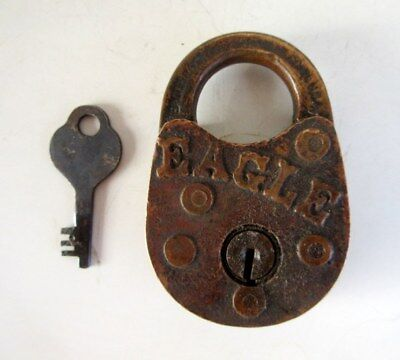Vintage Old Rare Collectible Copper Made Eagle Locks Co. Mark Padlock USA