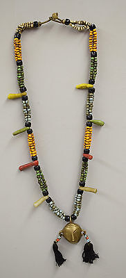 Naga Necklace Brass Head Pendant India Colorful Beaded Glass Necklace