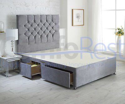 "CRUSHED OR PLAIN VELVET IBEX LUXURY CONTI Divan Bed + 54"" height Headboard - UK"